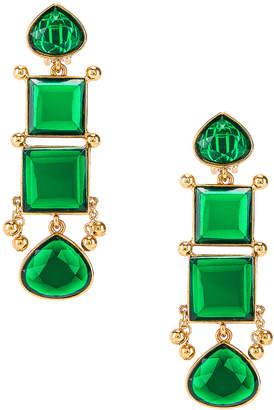 Oscar de la Renta Bold Square Earrings in Emerald | FWRD