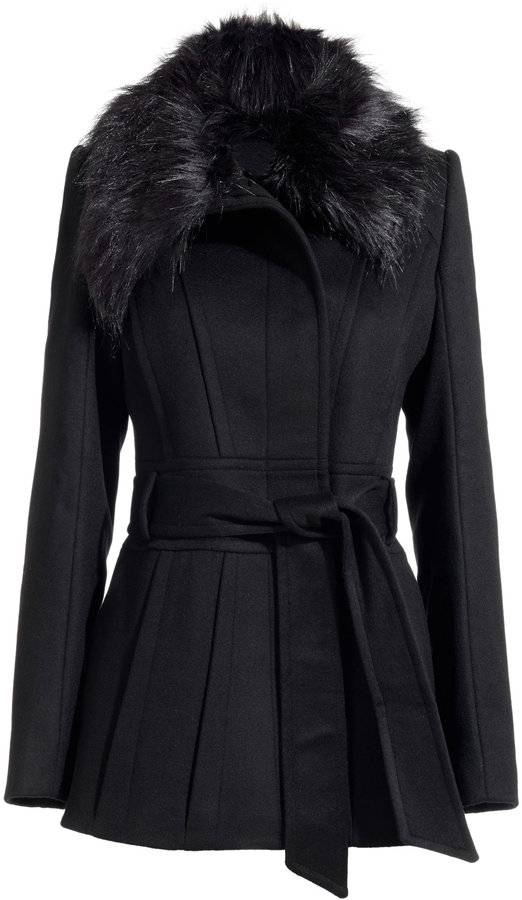 Eva BELTED JACKET WITH FAUX FUR COLLAR