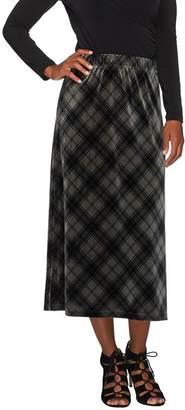Susan Graver Printed Velvet Comfort Waist Pull-On Long Skirt