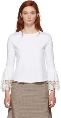 See by Chloe White Lace Wrist Loose Fit T-Shirt