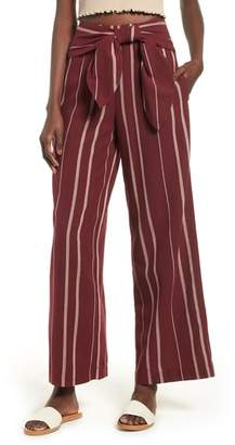 Moon River Stripe Tie Waist Pants