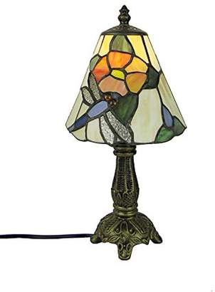 Tiffany & Co. Loxton Lighting 6inch 15cm Blue Dragonfly Flower Table Lamp, Yellow