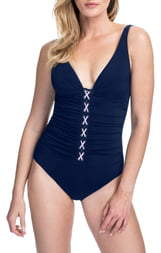 Gottex D-Cup Corset Lace One-Piece Swimsuit