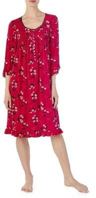 Eileen West Printed Ruffle Trim Nightgown