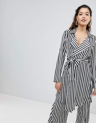 Parallel Lines Relaxed Jacket With Tie Waist In Stripe Co-Ord