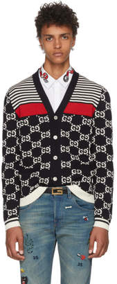 Gucci Navy Wool Striped GG Cardigan
