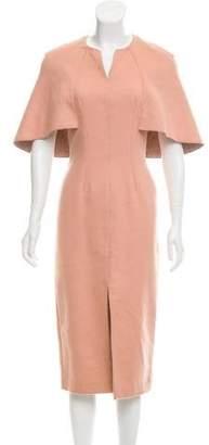 Lela Rose Cape-Accented Midi Dress