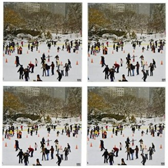 3dRose Snow blizzard in Central Park Manhattan New York City Ice Skate Ring, Ceramic Tile Coasters, set of 4
