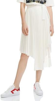 Maje Jaxy Pleated Asymmetric Midi Skirt