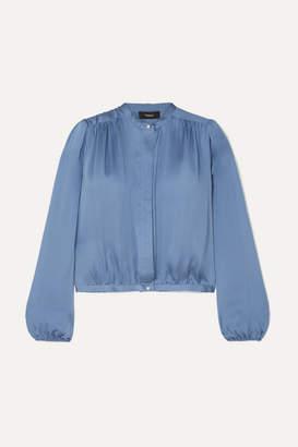 Theory Gathered Silk-satin Blouse - Blue