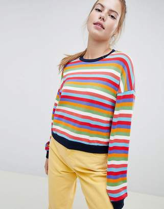 Bershka rainbow stripe jumper in multi