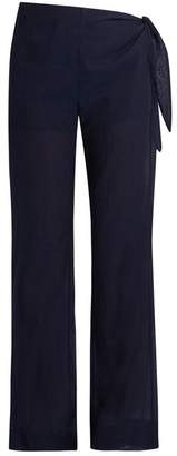 Casa Nata - Tie Side Cotton Voile Trousers - Womens - Dark Blue