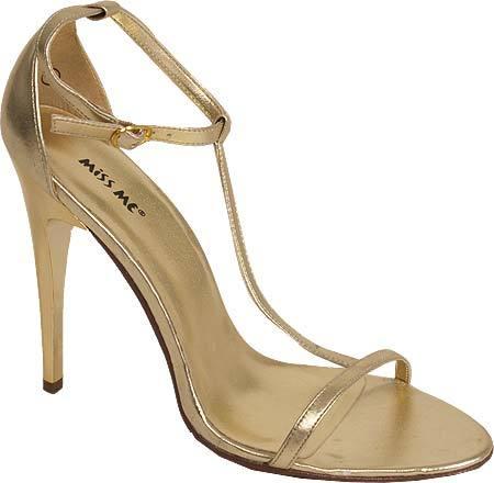 Metallic T-Strap Heels