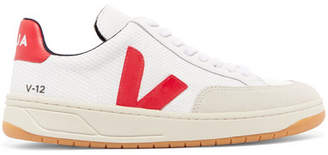 Veja V-12 Leather-trimmed Mesh And Nubuck Sneakers - White