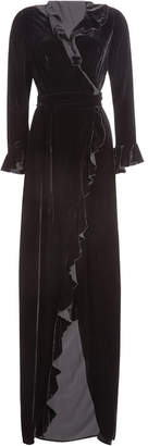 Dhela Velvet Gown with Ruffled Trims