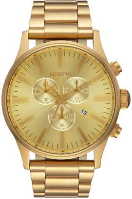 Nixon Men's Sentry Chronograph Gold-Tone Stainless Steel Bracelet Watch 42mm A386-502-00