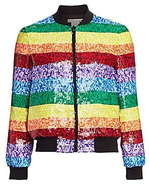 Alice + Olivia Women's Rainbow Sequin Bomber Jacket