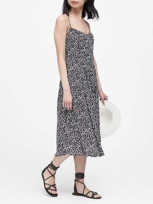 Banana Republic Print Pin-Tuck Midi Dress