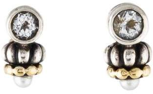 CAViAR Pearl & Topaz Drop Earrings