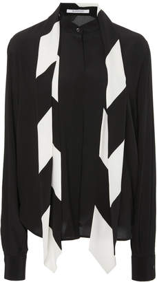 Givenchy Scarf Neck Long Sleeve Crepe de Chine Blouse