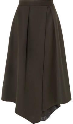 Cefinn Asymmetric Pleated Twill Midi Skirt - Army green