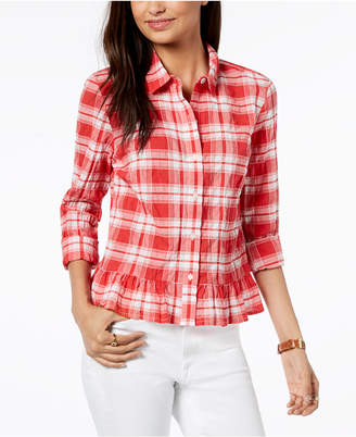 Tommy Hilfiger Printed Peplum-Hem Button-Front Shirt, Created for Macy's