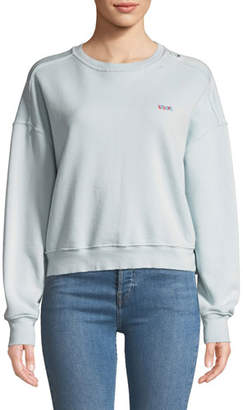 RE/DONE Distressed Crewneck Pullover with Embroidery