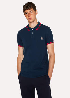 Paul Smith Men's Slim-Fit Navy Zebra Polo Shirt With Red Tipping