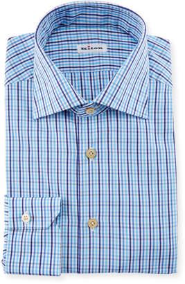 Kiton Multi-Check Dress Shirt, Blue