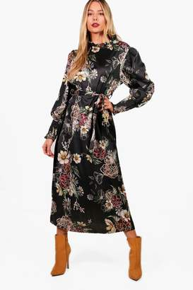 boohoo High Neck Volume Sleeve Floral Midi Dress