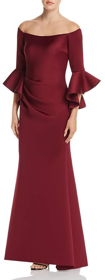 AQUA Off-the-Shoulder Bell Sleeve Scuba Gown - 100% Exclusive