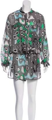 Diane von Furstenberg Printed Sheer Dress Grey Printed Sheer Dress