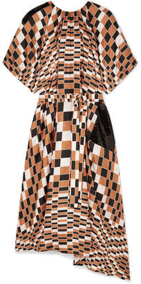Christopher Kane Sequin-embellished Checked Silk-satin Midi Dress - Tan