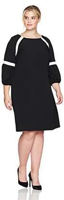 Julian Taylor Women's Plus Size Color Blocked 3/4 Puff Sleeve Shift Dress
