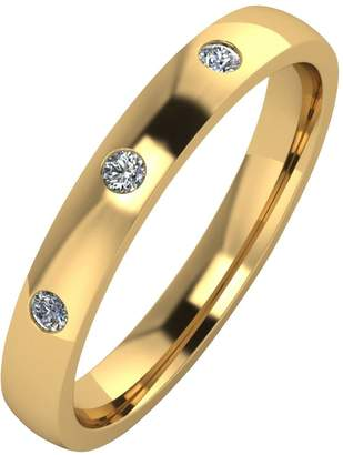 Love DIAMOND 9ct Gold 10 Point Diamond Set 3mm Court Wedding Band