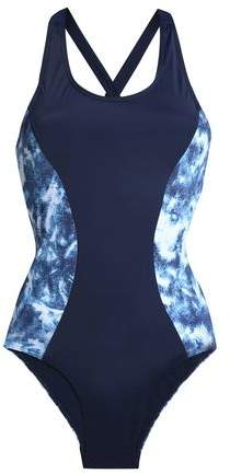 Kassidy Lace-Up Paneled Tie-Dyed Swimsuit