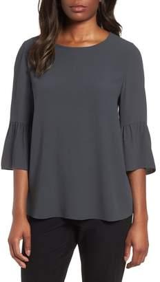 Eileen Fisher Ruffled Sleeve Silk Top