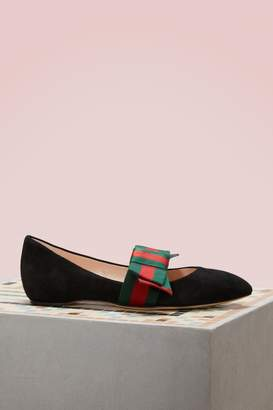 Gucci Bow leather ballet pumps