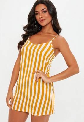 Missguided Mustard Stripe Slip Dress