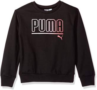 Puma Big Girls' Crew Sweatshirt with Fold Over Sleeves, Black