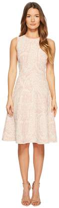 Zac Posen Knitted Jacquard Short Sleeve Fit and Flare Dress Women's Dress