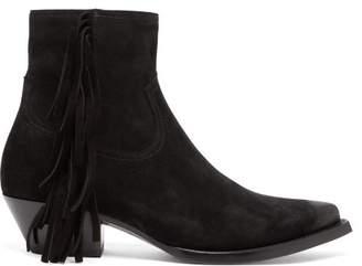 Saint Laurent Lukas Fringed Suede Boots - Mens - Black