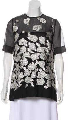 Lela Rose Short Sleeve Brocade Top