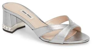 Miu Miu Crystal Embellished Sandal