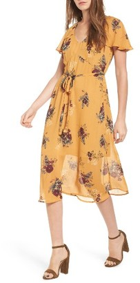 Women's Leith Floral Belted Flutter Sleeve Dress $79 thestylecure.com