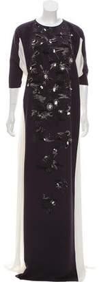 Oscar de la Renta Embellished Evening Dress
