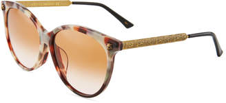 Gucci Round Acetate/Metal Tiger Sunglasses with Gradient Lenses