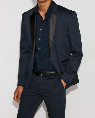 Express Extra Slim Blue Satin Lapel Tuxedo Jacket