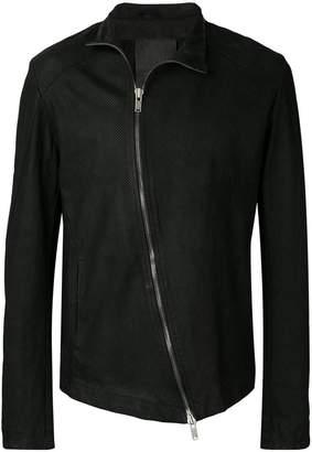 10Sei0otto asymmetric zip leather jacket