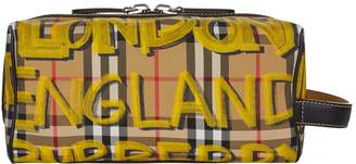 Burberry Graffiti Print Check Wash Bag